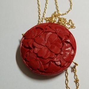 Necklace of Cinnabar Pendant with Vermier Chain